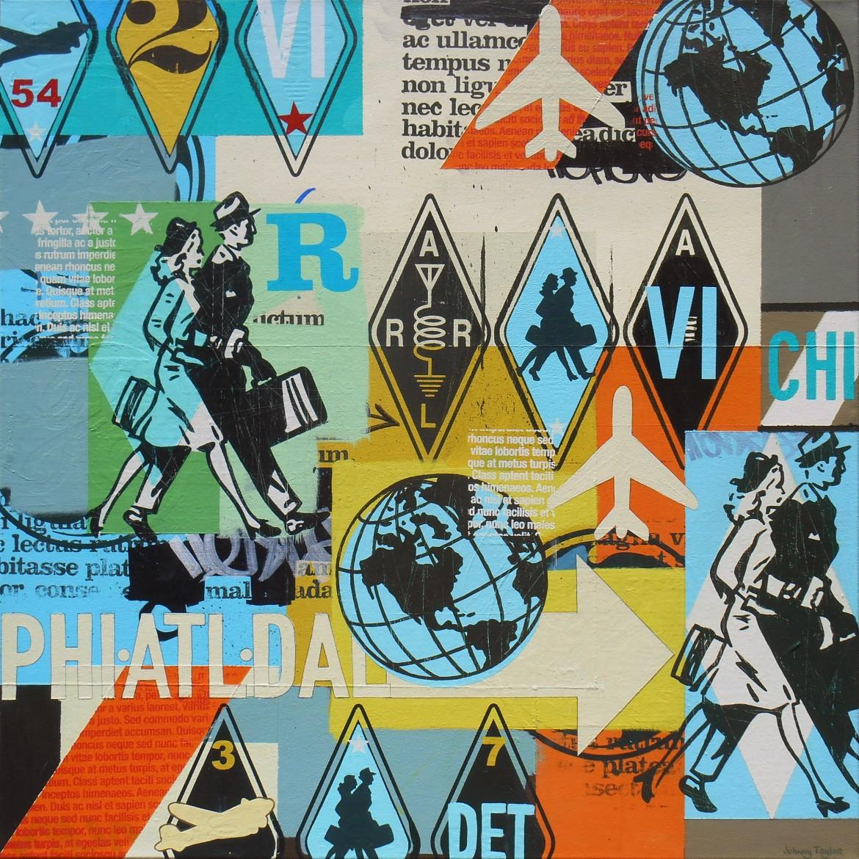 "Four Star Travel, 2015, 40""x40"", acrylic, screen print & marker on canvas."
