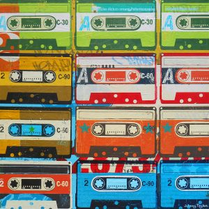 Retro cassettes painting by Johnny Taylor