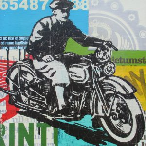 Vintage 1932 Harley Davidson Motorcycle artwork.
