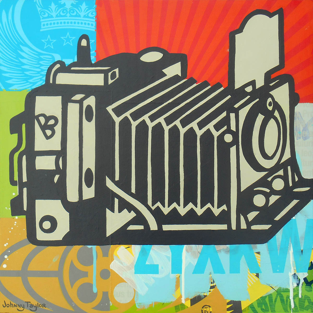 Vintage Graflex camera painting by Johnny Taylor