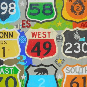Vintage highway sign artwork by Johnny Taylor