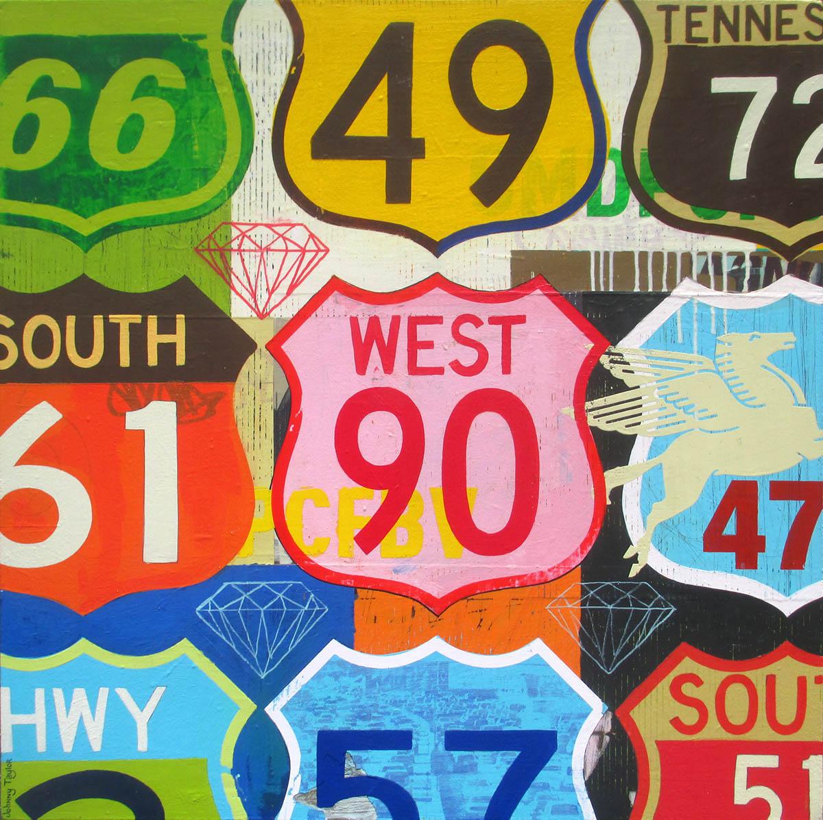 Vintage highway road signs