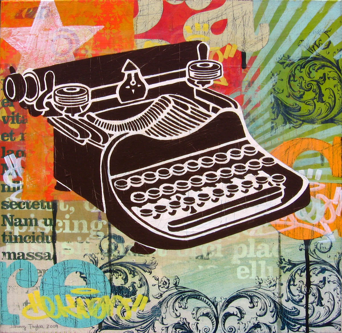 painting of a typewriter by Johnny Taylor