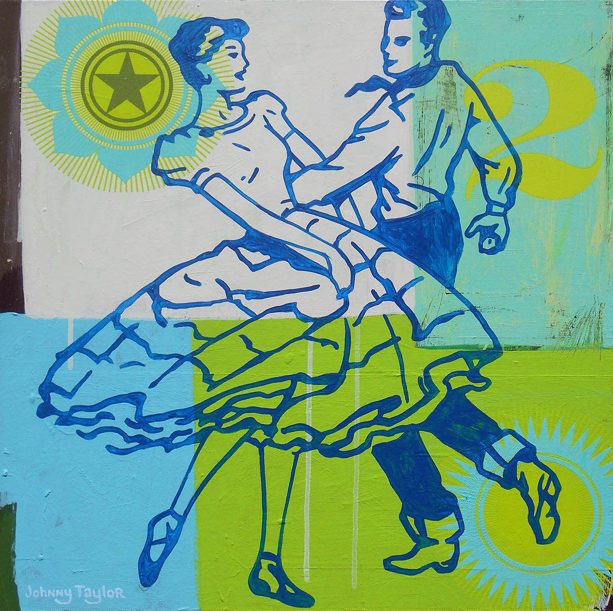 Square Dancers, 2018, painting by Johnny Taylor