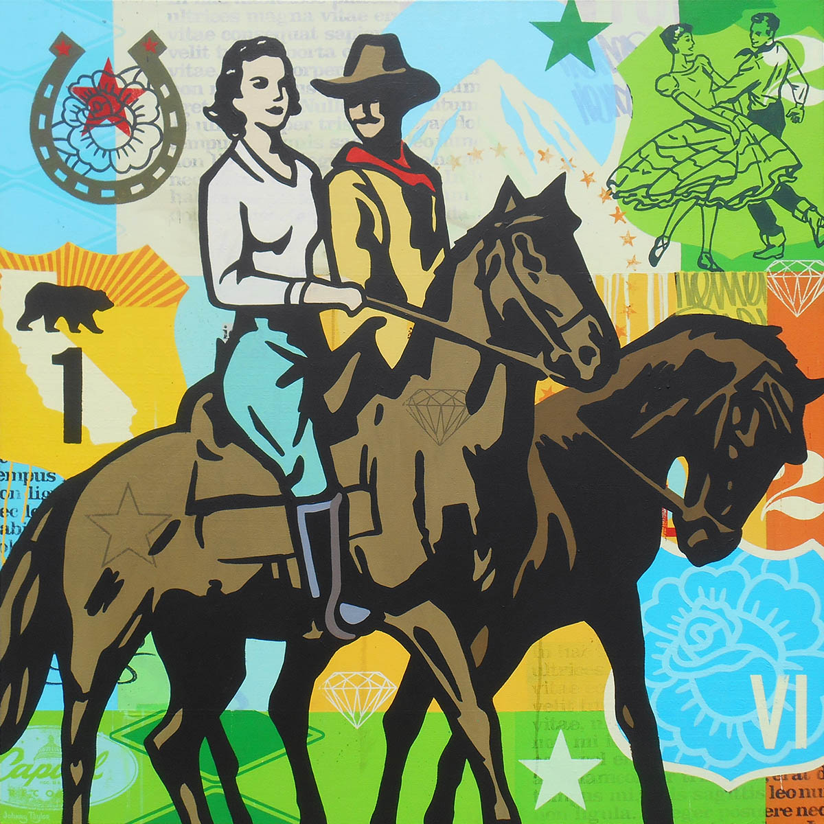 Painting of couple on horseback by Johnny Taylor