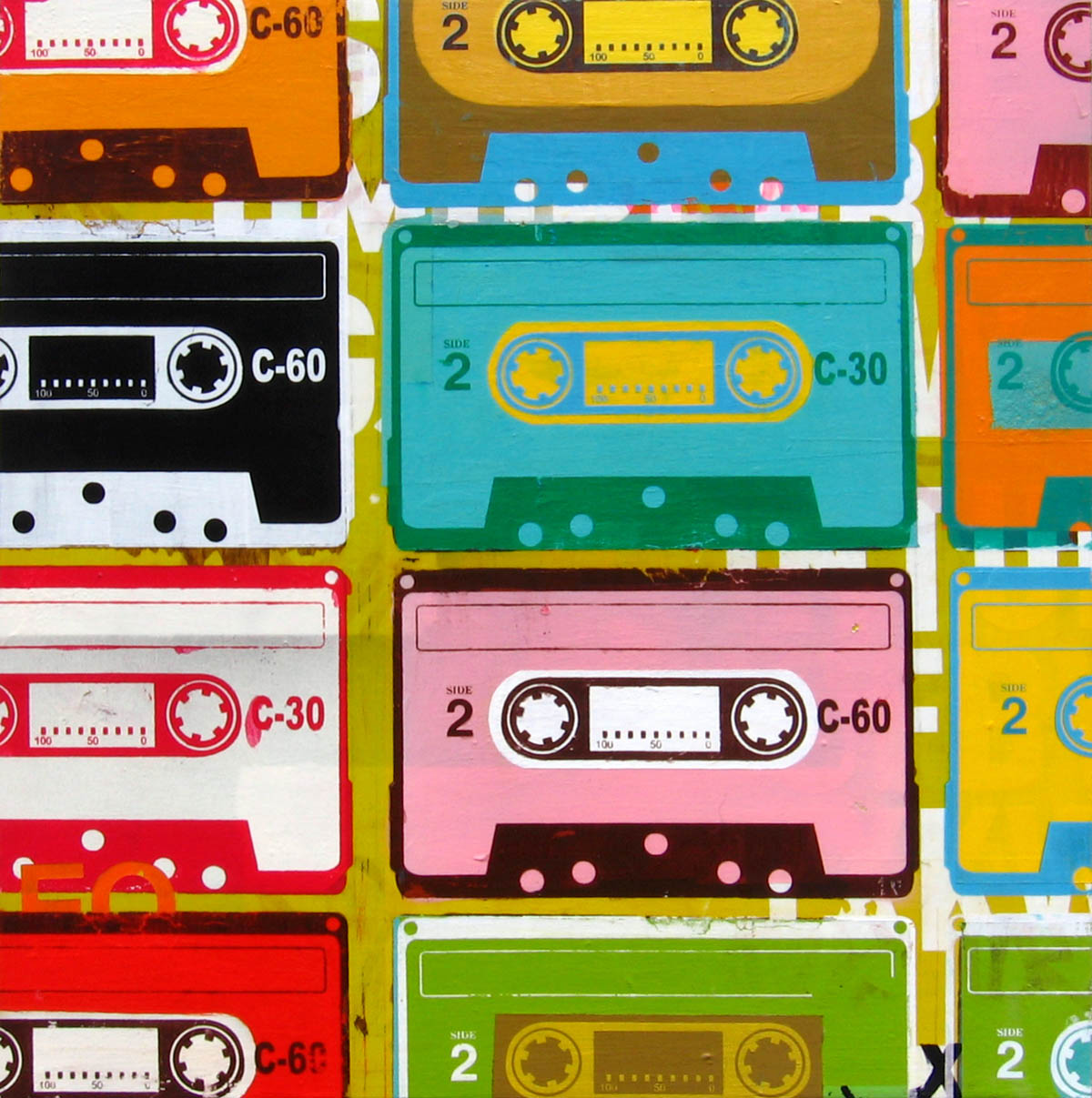 Retro cassettes artwork by Johnny Taylor