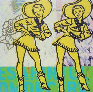 Vintage cowgirl pop art