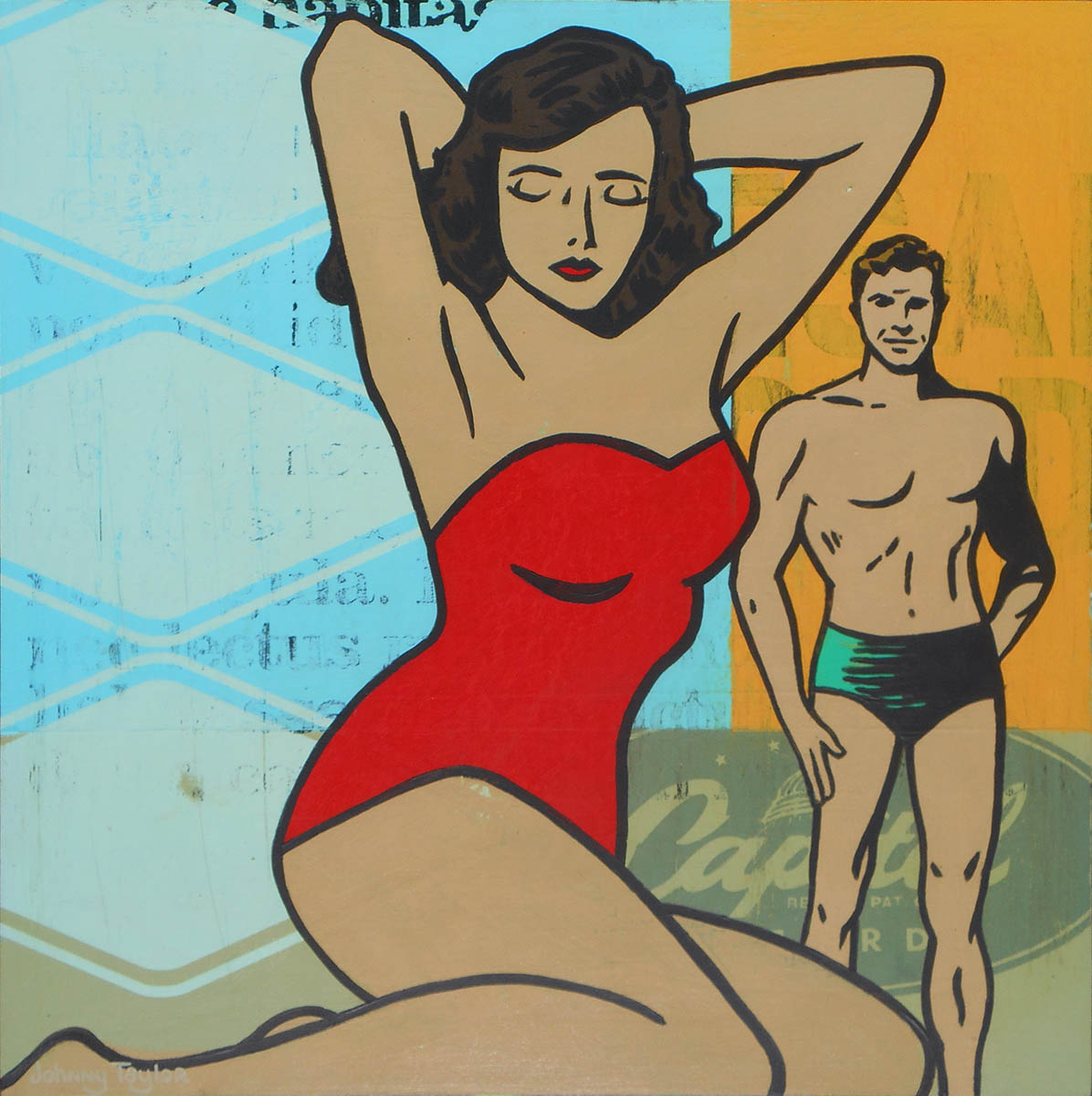 Retro couple on the beach pop art by Johnny Taylor