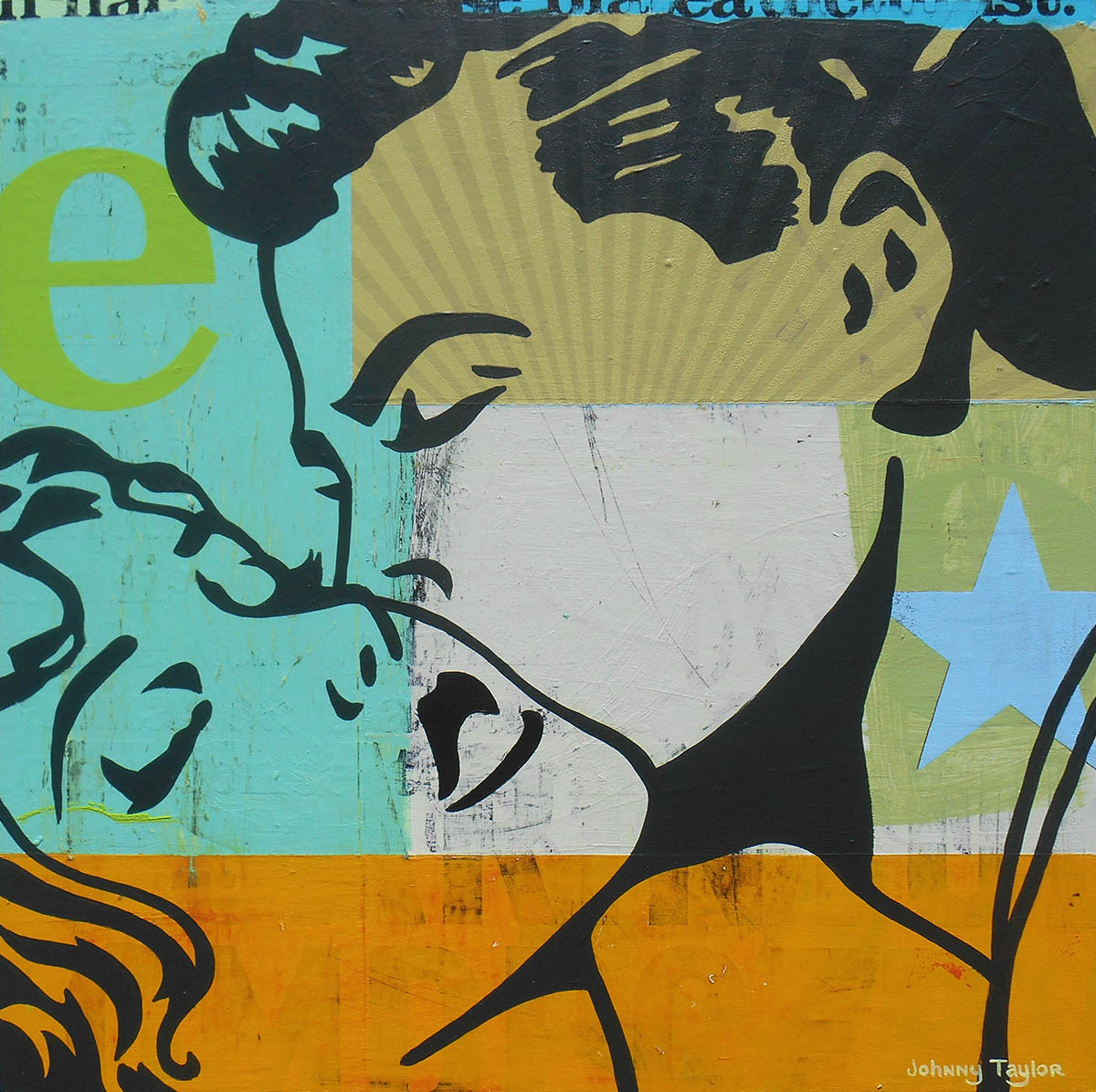painting of couple kissing Johnny Taylor