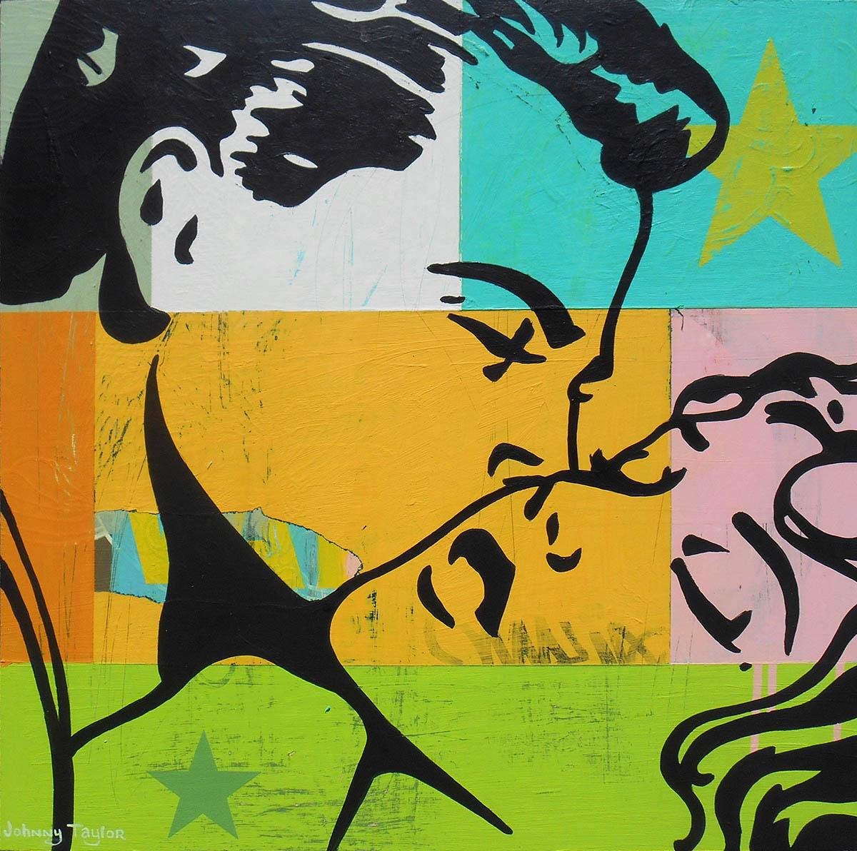 pop art couple kissing