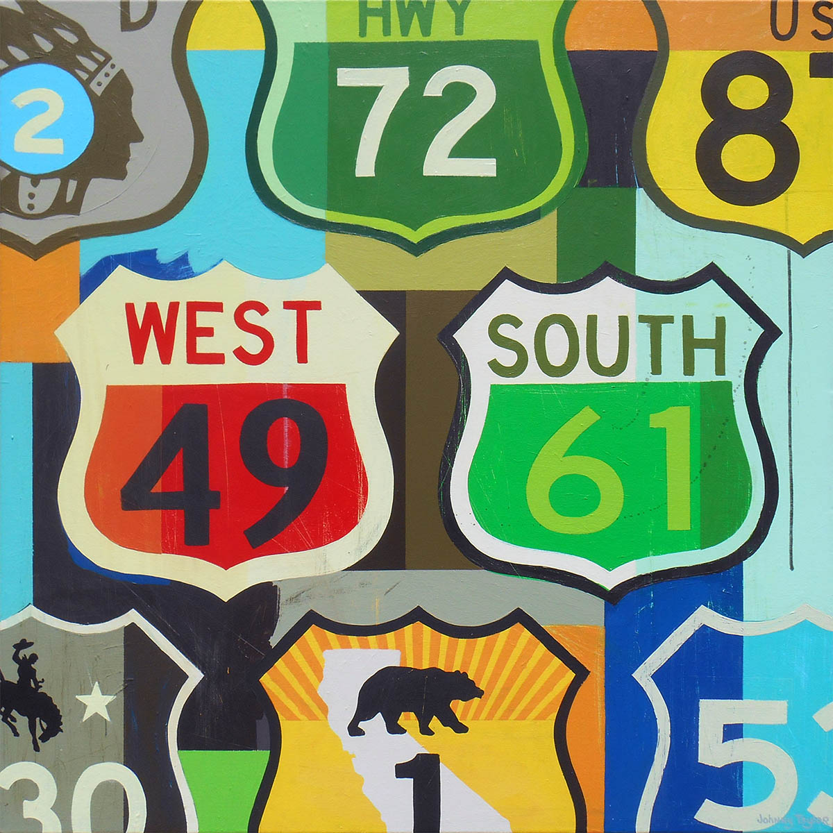 Highway sign pop art by Johnny Taylor