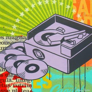 turntable pop art painting by Johnny Taylor