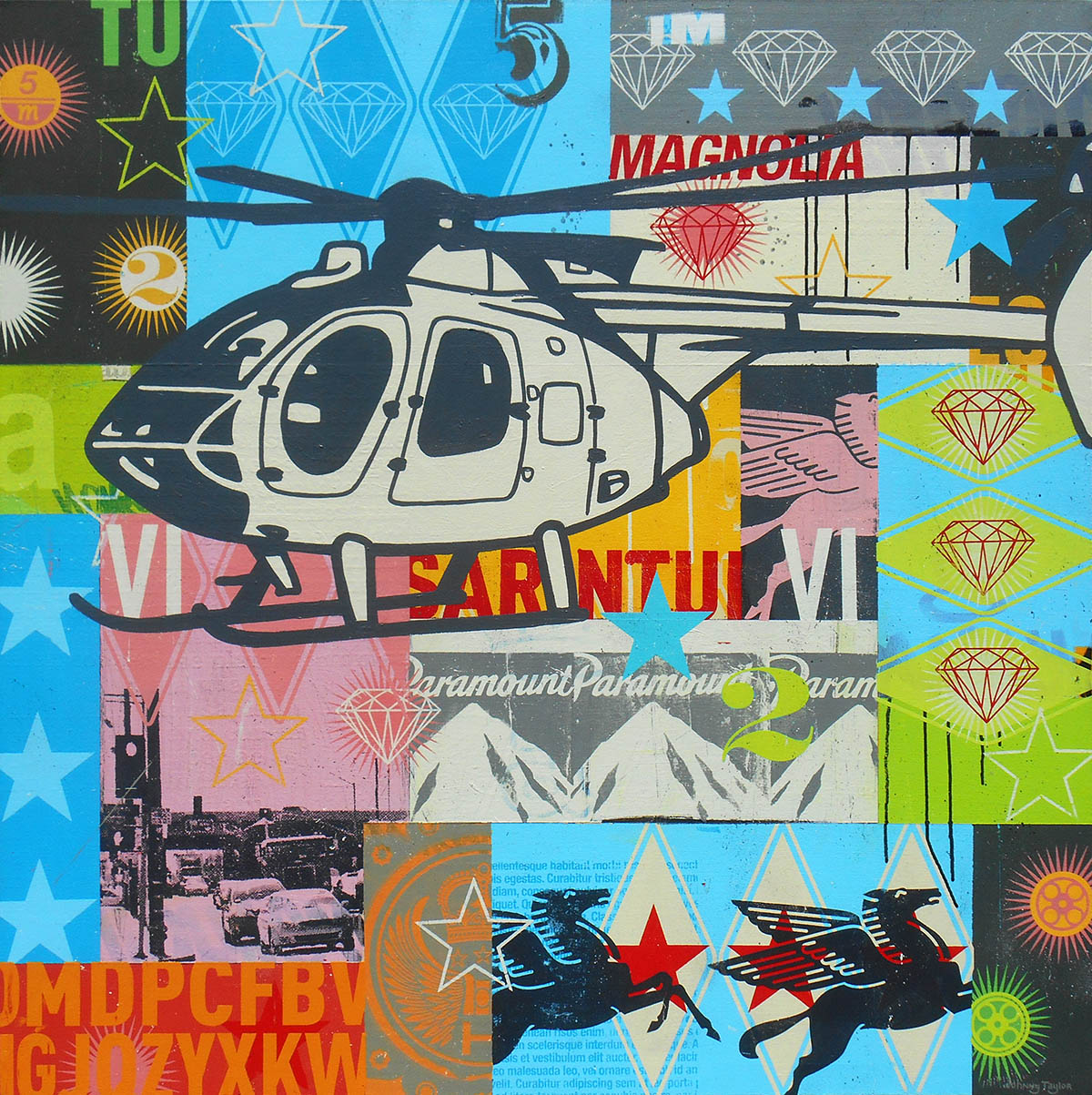 Helicopter Pop Art by Johnny Taylor