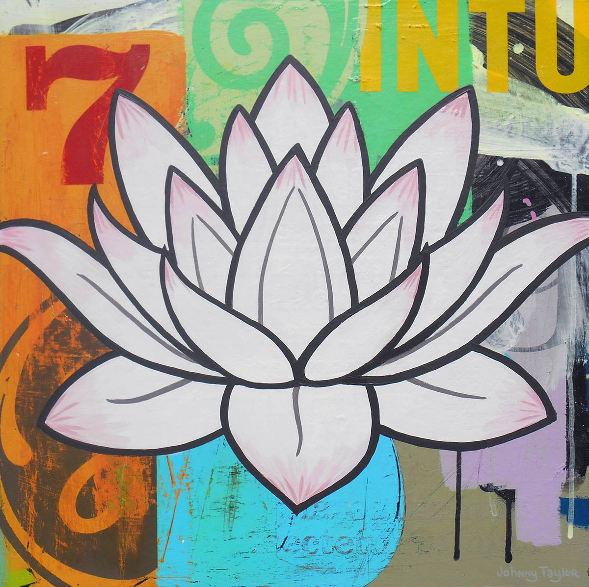 Pink Lotus painting by Johnny Taylor