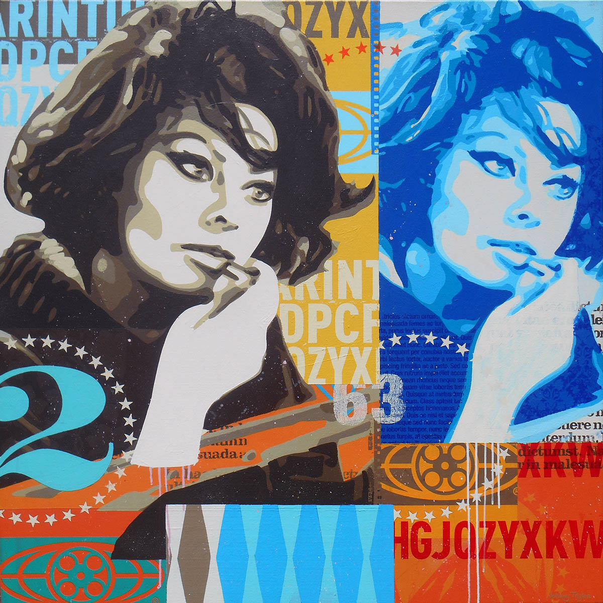 Sophia Loren pop art by Johnny Taylor