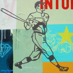 Vintage baseball player painting by Johnny Taylor